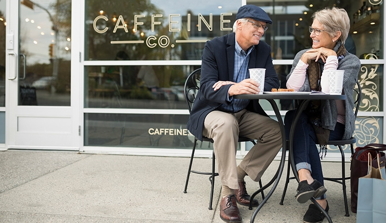 Retired couple at coffee shop