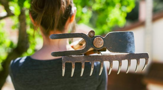 Woman with gardening tools