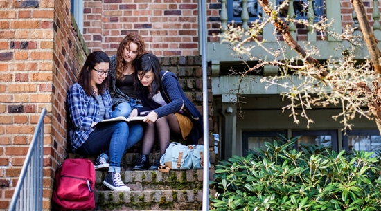 Three students studying on steps