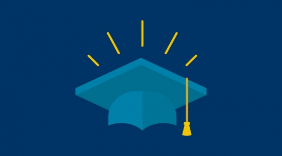 Mortarboard icon blue with yellow tassel